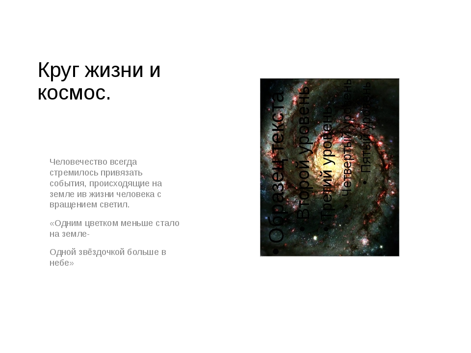 Круг жизни и космос. Человечество всегда стремилось привязать события, происх...