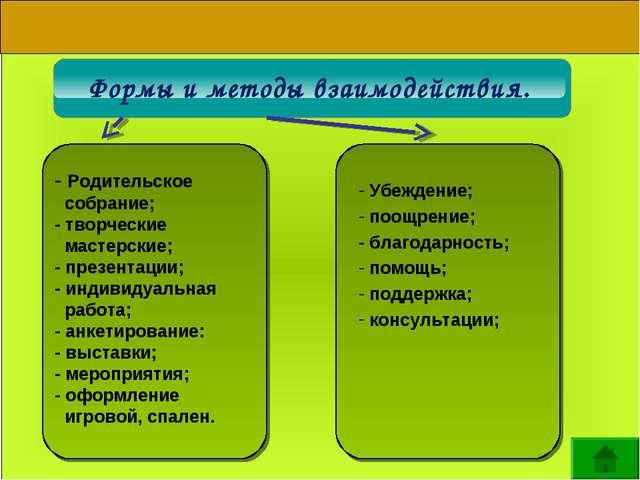 Формы и методы взаимодействия. Информация о - Родительское собрание; - творче...