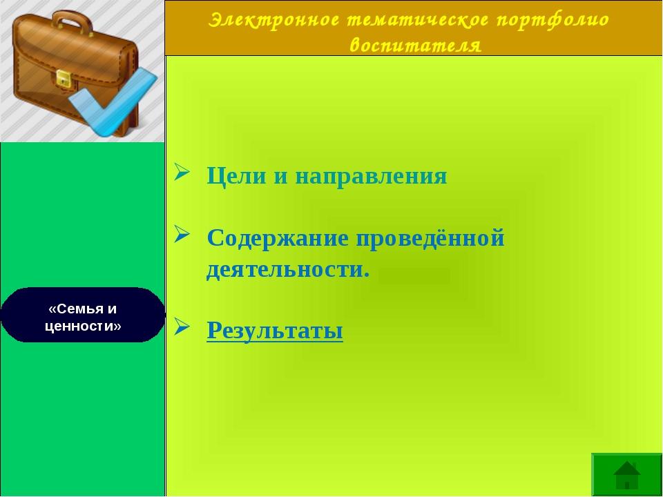 Электронное тематическое портфолио воспитателя «Семья и ценности» Цели и нап...