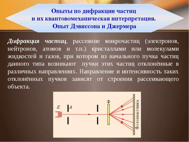 Экспериментальные подтверждения гипотезы де Бройля Дифракционная картина, пол...