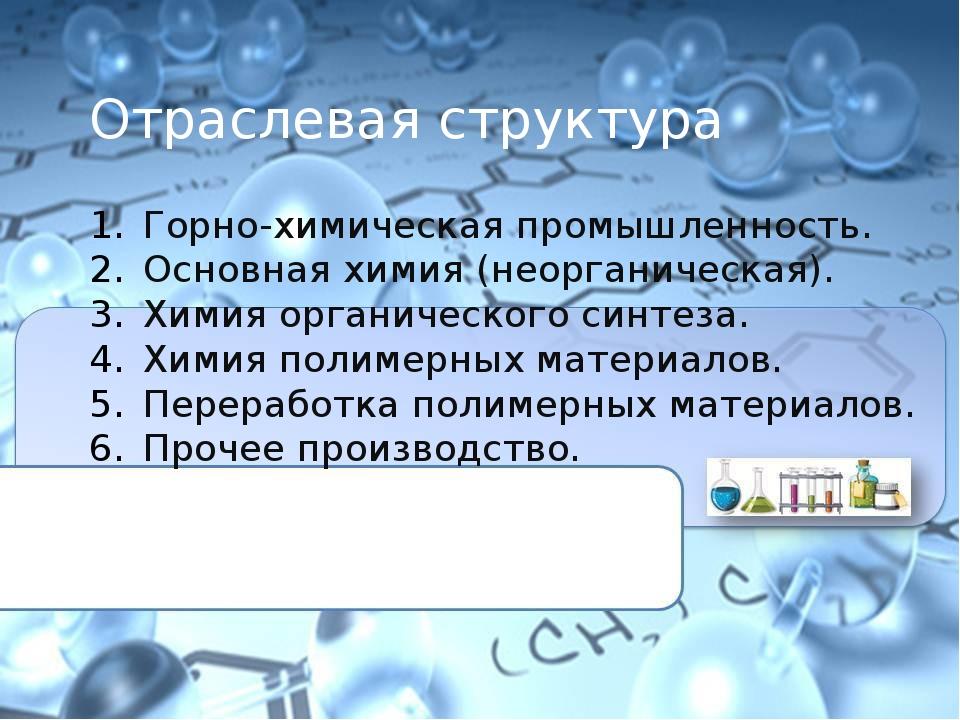 Отраслевая структура Горно-химическая промышленность. Основная химия (неорга...