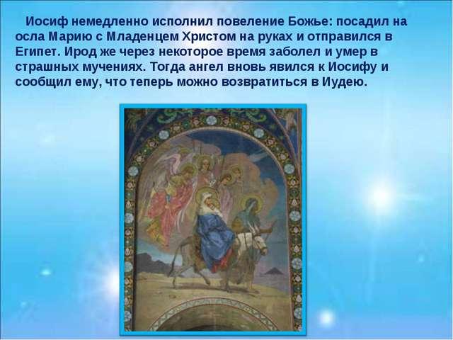 Иосиф немедленно исполнил повеление Божье: посадил на осла Марию с Младенцем...