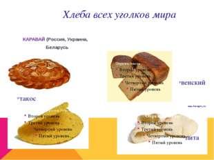 *венский *такос *пита КАРАВАЙ(Россия, Украина, Беларусь Хлеба всех уголков