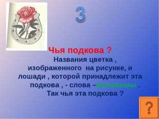 Чья подкова ? Названия цветка , изображенного на рисунке, и лошади , которой