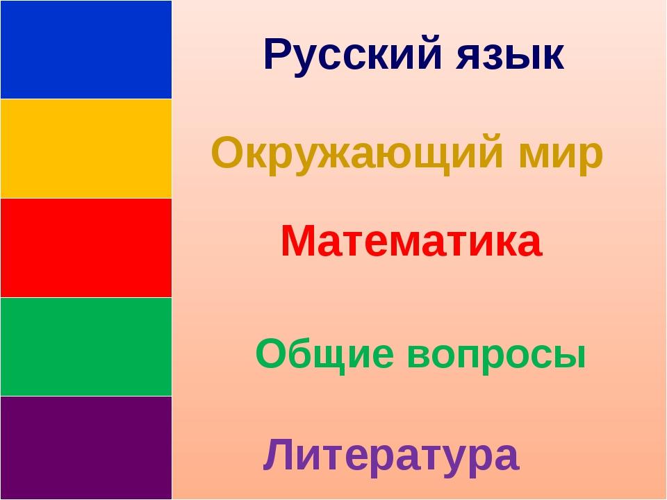 Русский язык Окружающий мир Математика Общие вопросы Литература