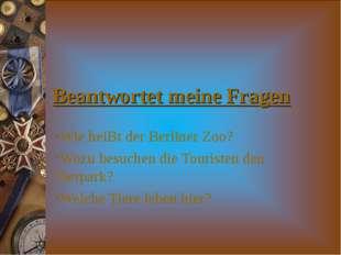 Beantwortet meine Fragen Wie heiBt der Berliner Zoo? Wozu besuchen die Touris