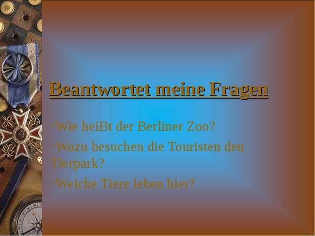 Beantwortet meine Fragen Wie heiBt der Berliner Zoo? Wozu besuchen die Touris...