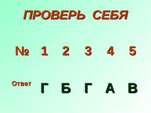 ПРОВЕРЬ СЕБЯ № 1 2 3 4 5 Ответ Г Б Г А В