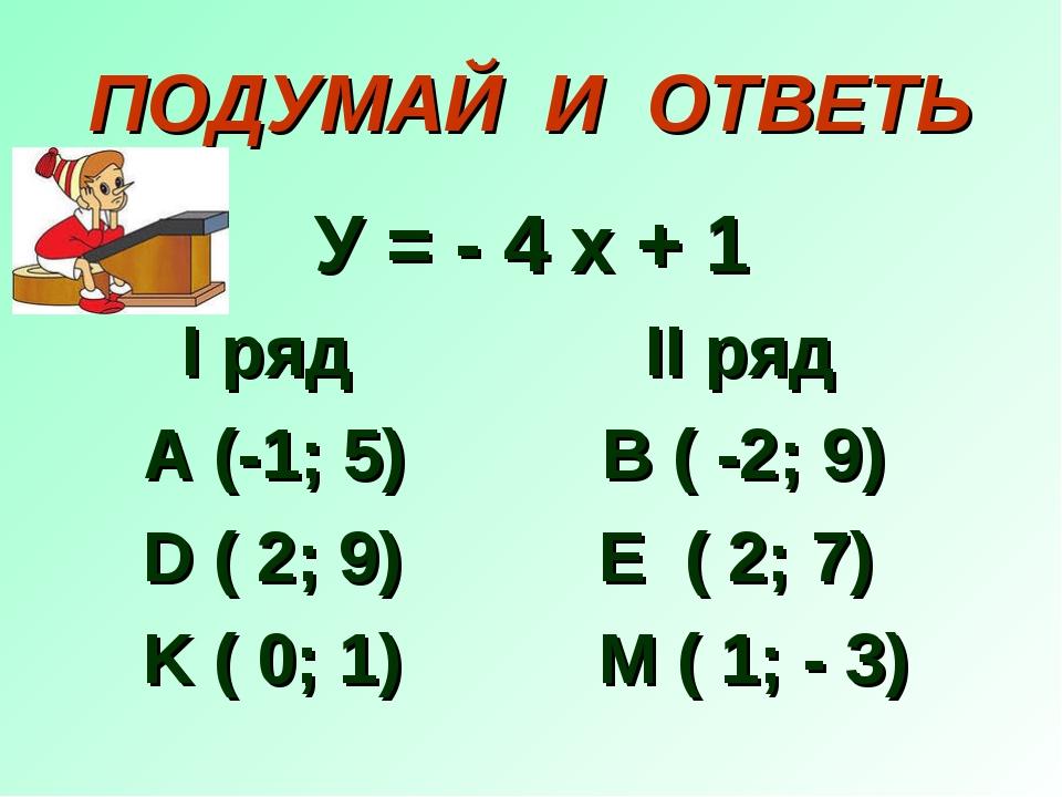 ПОДУМАЙ И ОТВЕТЬ У = - 4 х + 1 I ряд II ряд A (-1; 5) B ( -2; 9) D ( 2; 9) E...