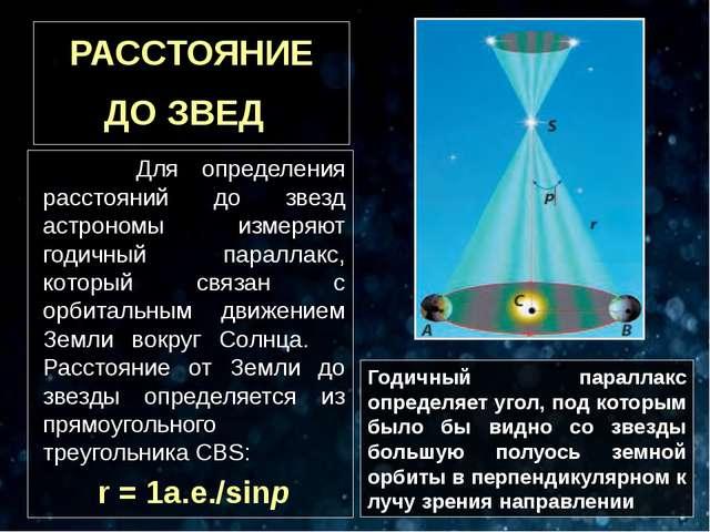 РАССТОЯНИЕ ДО ЗВЕД Для определения расстояний до звезд астрономы измеряют год...
