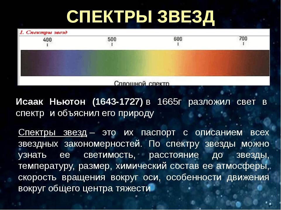 СПЕКТРЫ ЗВЕЗД Исаак Ньютон (1643-1727)в 1665г разложил свет в спектр и объя...
