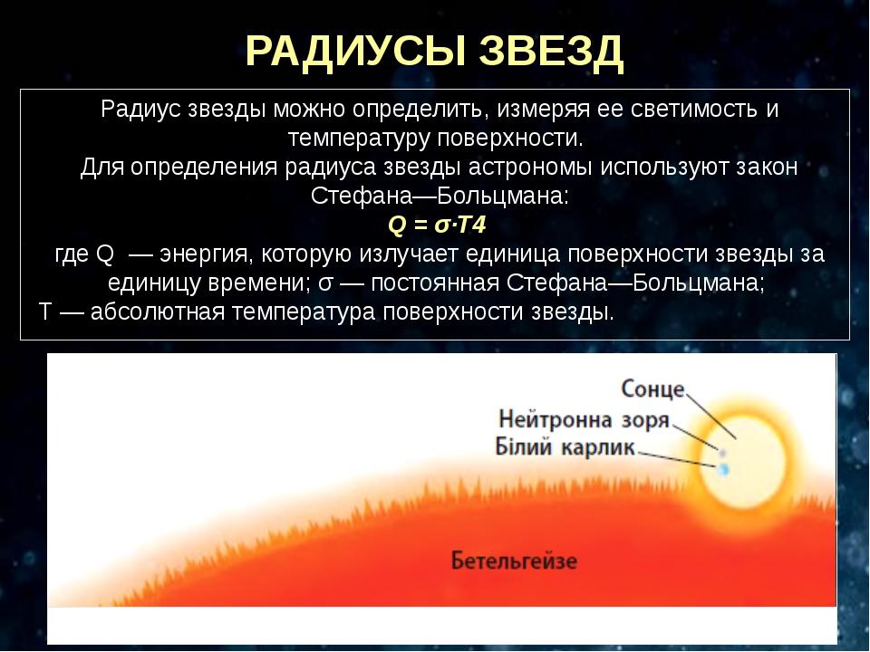РАДИУСЫ ЗВЕЗД Радиус звезды можно определить, измеряя ее светимость и темпера...