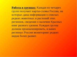 Работа в группах:Каждая из четырех групп получает карты-схемы России, на кот