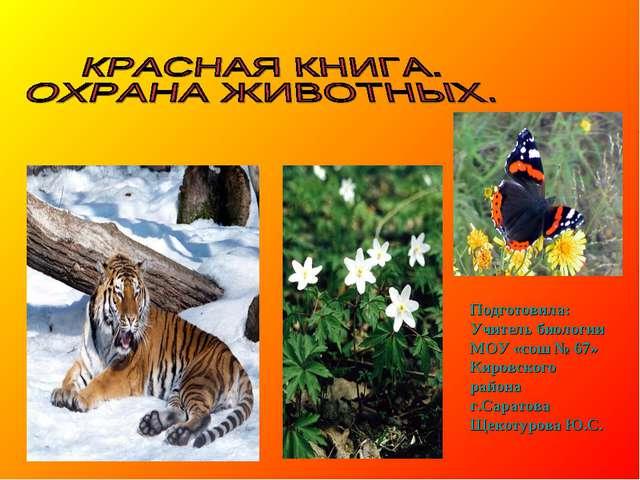 Подготовила: Учитель биологии МОУ «сош № 67» Кировского района г.Саратова Ще...