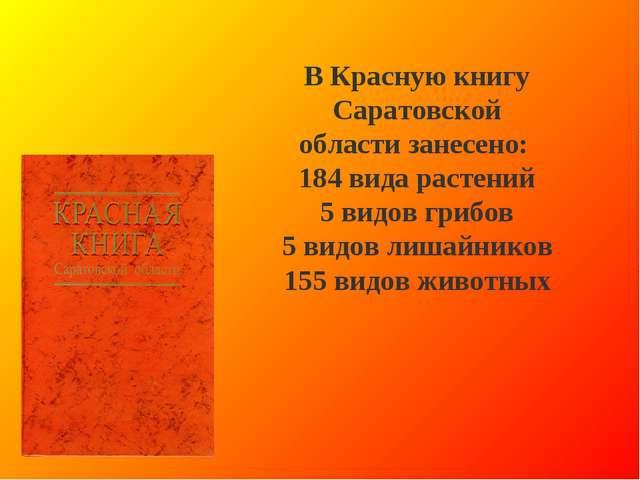 В Красную книгу Саратовской области занесено: 184 вида растений 5 видов грибо...