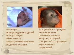 * На лицах новорожденных детей присутствует генетически запрограммированное п
