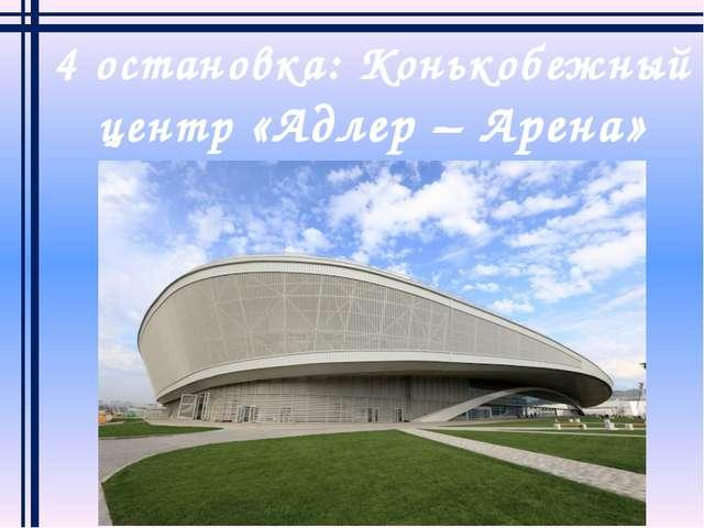 4 остановка: Конькобежный центр «Адлер – Арена»