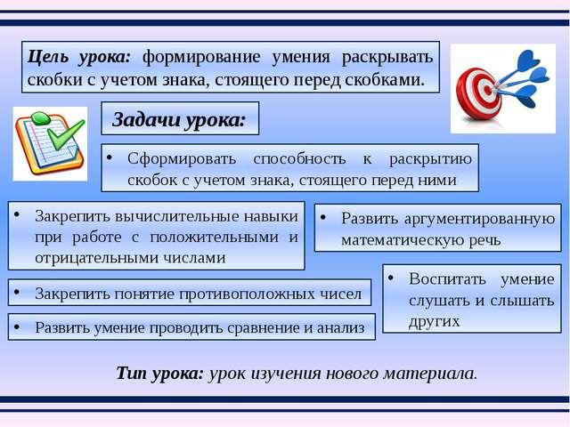 Тип урока: урок изучения нового материала. Цель урока: формирование умения ра...