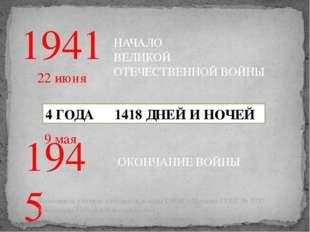 1941 НАЧАЛО ВЕЛИКОЙ ОТЕЧЕСТВЕННОЙ ВОЙНЫ 1945 ОКОНЧАНИЕ ВОЙНЫ 4 ГОДА 1418 ДНЕЙ