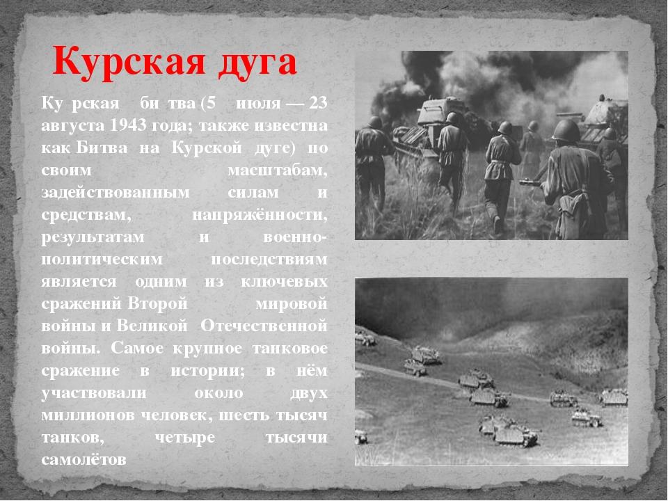 Курская дуга Ку́рская би́тва(5 июля—23 августа1943года; также известна к...