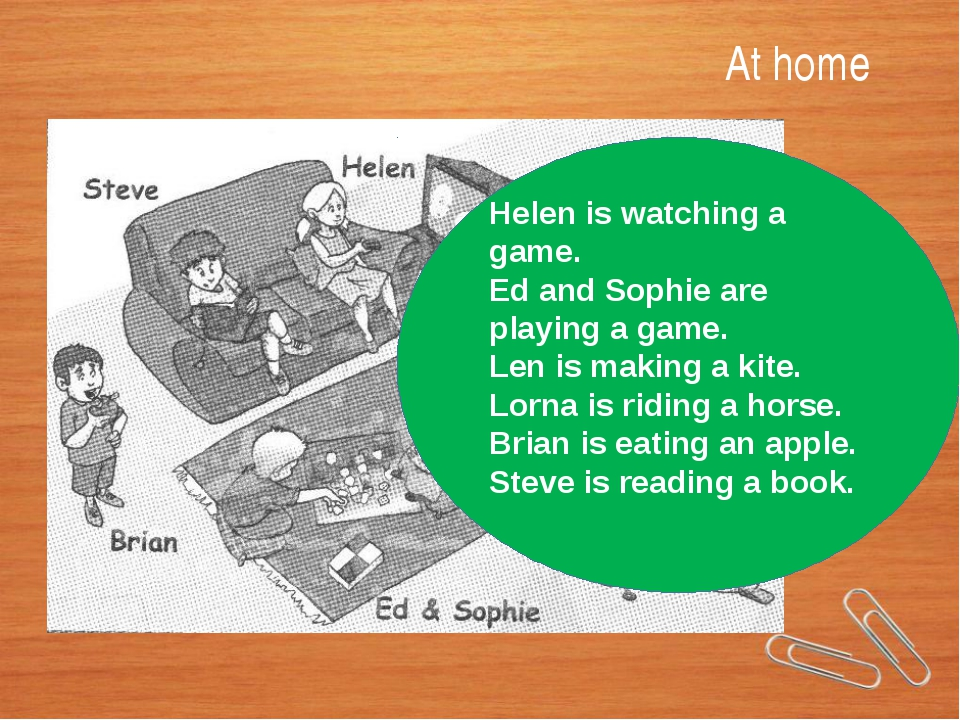 At home Helen is watching a game. Ed and Sophie are playing a game. Len is ma...