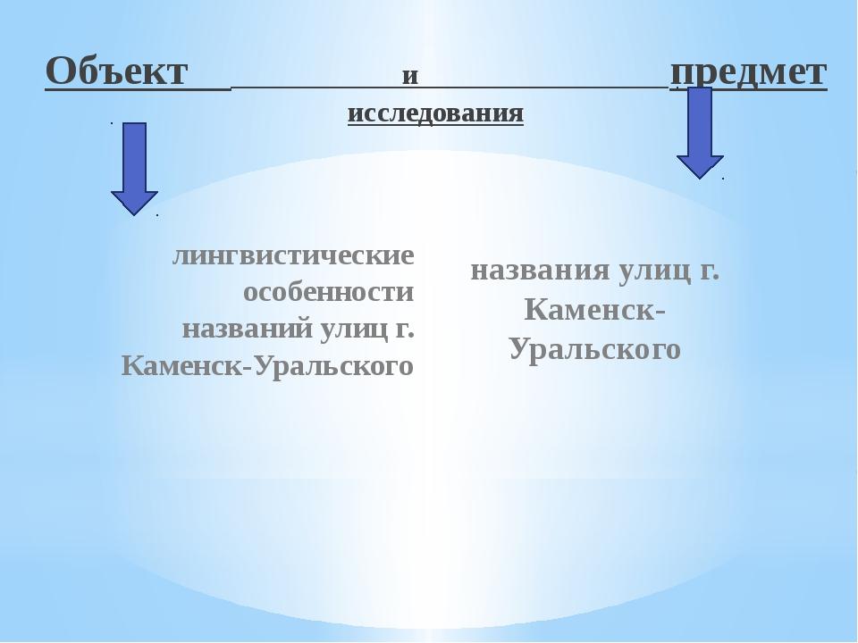 Объект и предмет исследования лингвистические особенности названий улиц г. Ка...