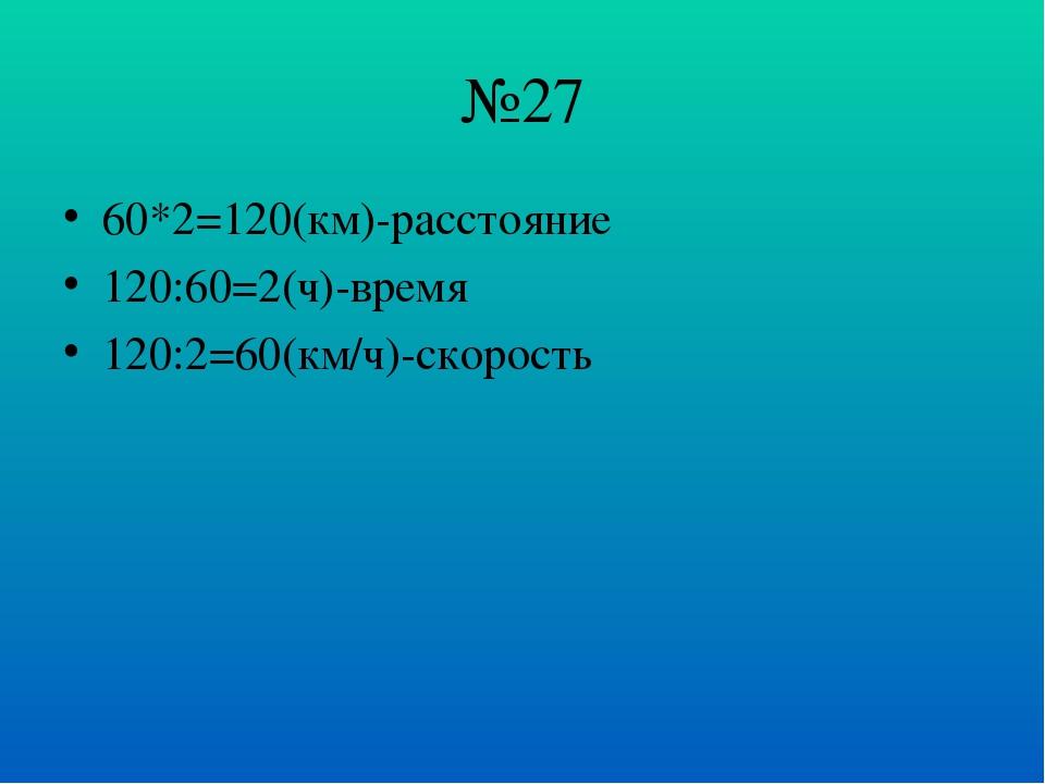№27 60*2=120(км)-расстояние 120:60=2(ч)-время 120:2=60(км/ч)-скорость