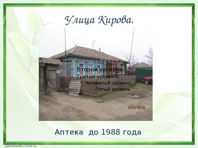 Улица Кирова. Аптека до 1988 года