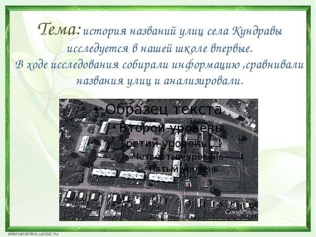 Тема: история названий улиц села Кундравы исследуется в нашей школе впервые....