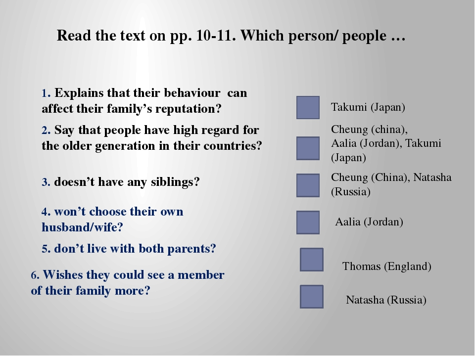 Read the text on pp. 10-11. Which person/ people … 1. Explains that their beh...