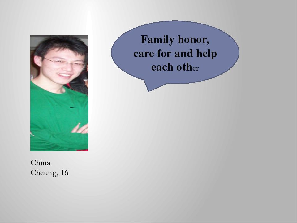 China Cheung, 16 Family honor, care for and help each other
