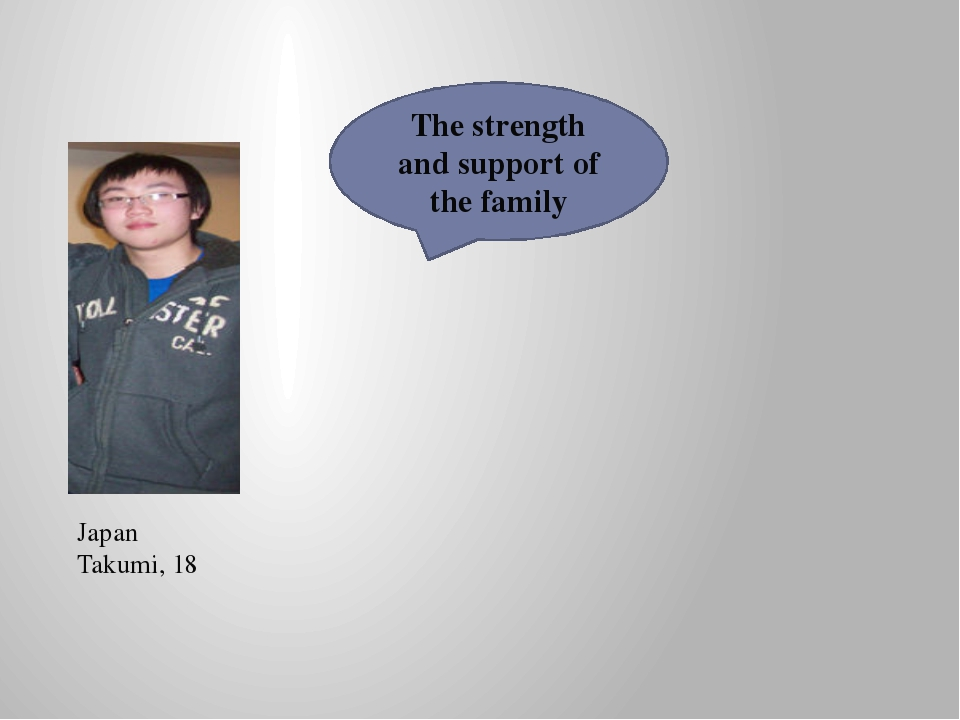 Japan Takumi, 18 The strength and support of the family
