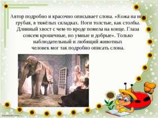 Автор подробно и красочно описывает слона. «Кожа на нём грубая, в тяжёлых скл