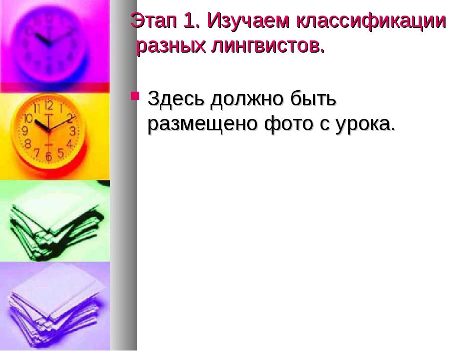 Этап 1. Изучаем классификации разных лингвистов. Здесь должно быть размещено...