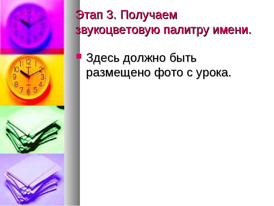 Этап 3. Получаем звукоцветовую палитру имени. Здесь должно быть размещено фот...