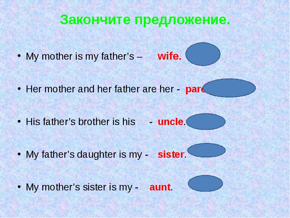 Закончите предложение. My mother is my father's –	 	wife. Her mother and her...
