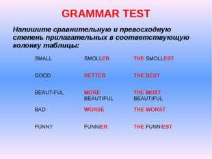GRAMMAR TEST Напишите сравнительную и превосходную степень прилагательных в с