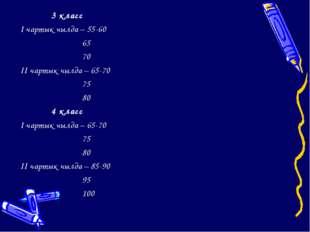 3 класс I чартык чылда – 55-60 65 70 II чартык чылда – 65-70 75 80 4 клас
