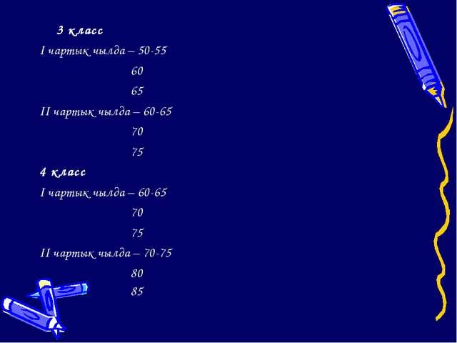 3 класс I чартык чылда – 50-55 60 65 II чартык чылда – 60-65 70...