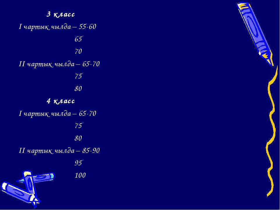 3 класс I чартык чылда – 55-60 65 70 II чартык чылда – 65-70 75 80 4 клас...