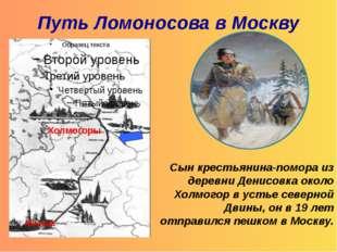 Путь Ломоносова в Москву Сын крестьянина-помора из деревни Денисовка около Хо