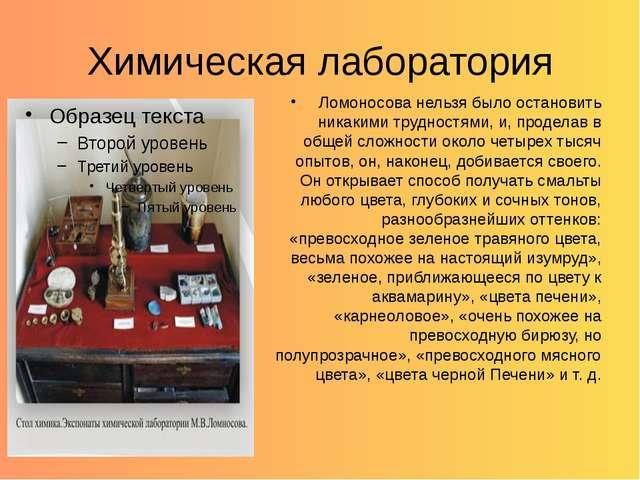 Химическая лаборатория Ломоносова нельзя было остановить никакими трудностями...