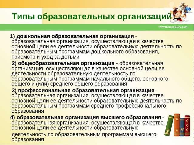 www.themegallery.com Типы образовательных организаций 1) дошкольная образоват...