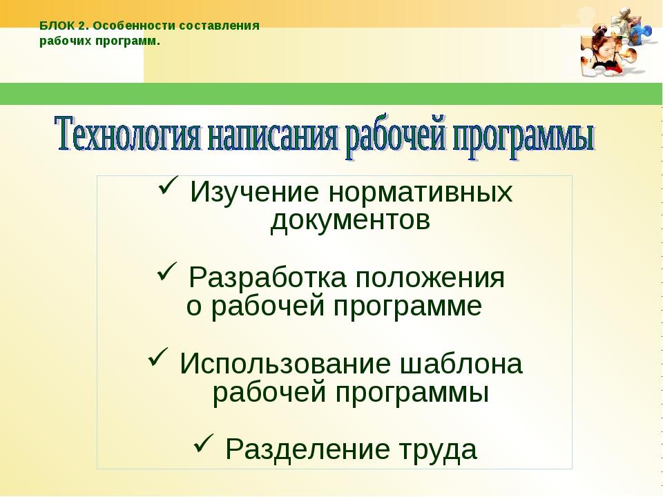 Изучение нормативных документов Разработка положения о рабочей программе Испо...