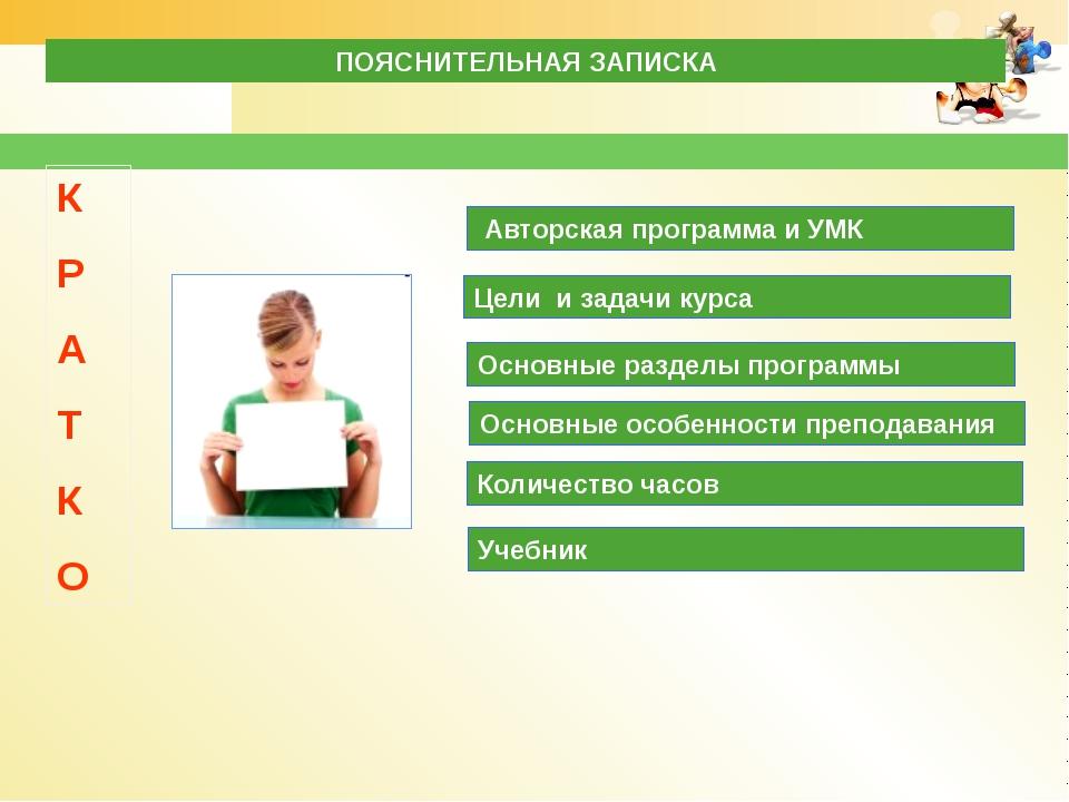 Авторская программа и УМК Цели и задачи курса Основные разделы программы Осн...