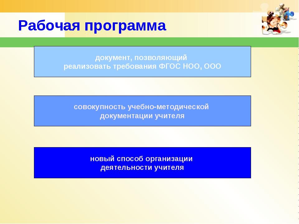Рабочая программа документ, позволяющий реализовать требования ФГОС НОО, ООО...