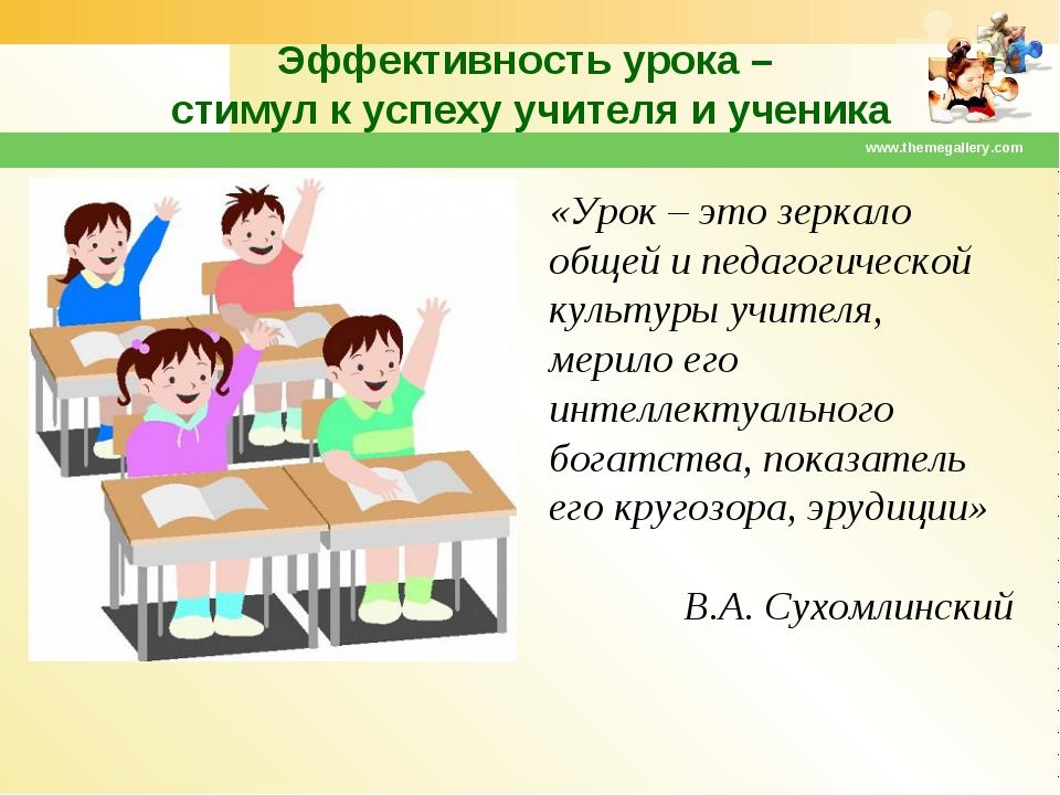 Эффективность урока – стимул к успеху учителя и ученика www.themegallery.com...
