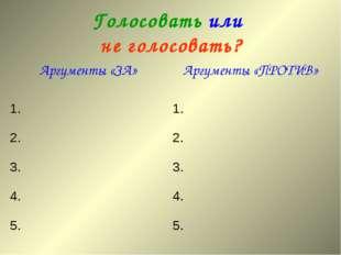 Голосовать или не голосовать? Аргументы «ЗА»Аргументы «ПРОТИВ» 1.1. 2.2. 3