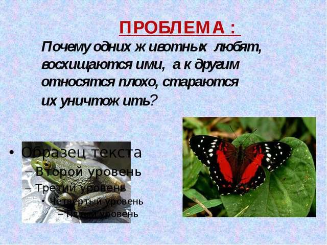 ПРОБЛЕМА : Почему одних животных любят, восхищаются ими, а к другим относятс...