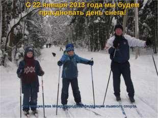 С 22 января 2013 года мы будем праздновать день снега! Это инициатива Междун